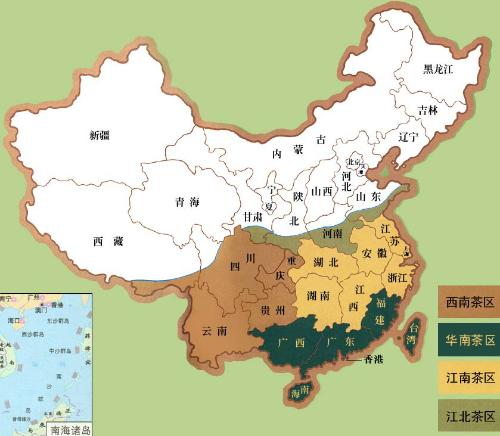 tea growing regions china map xinan huanan jiangnan jiangbei