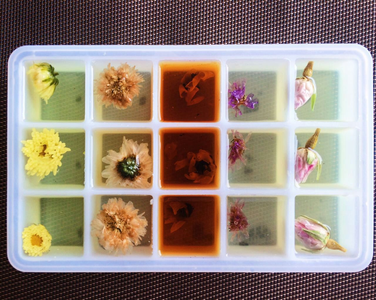 ice cubes with herbal tea